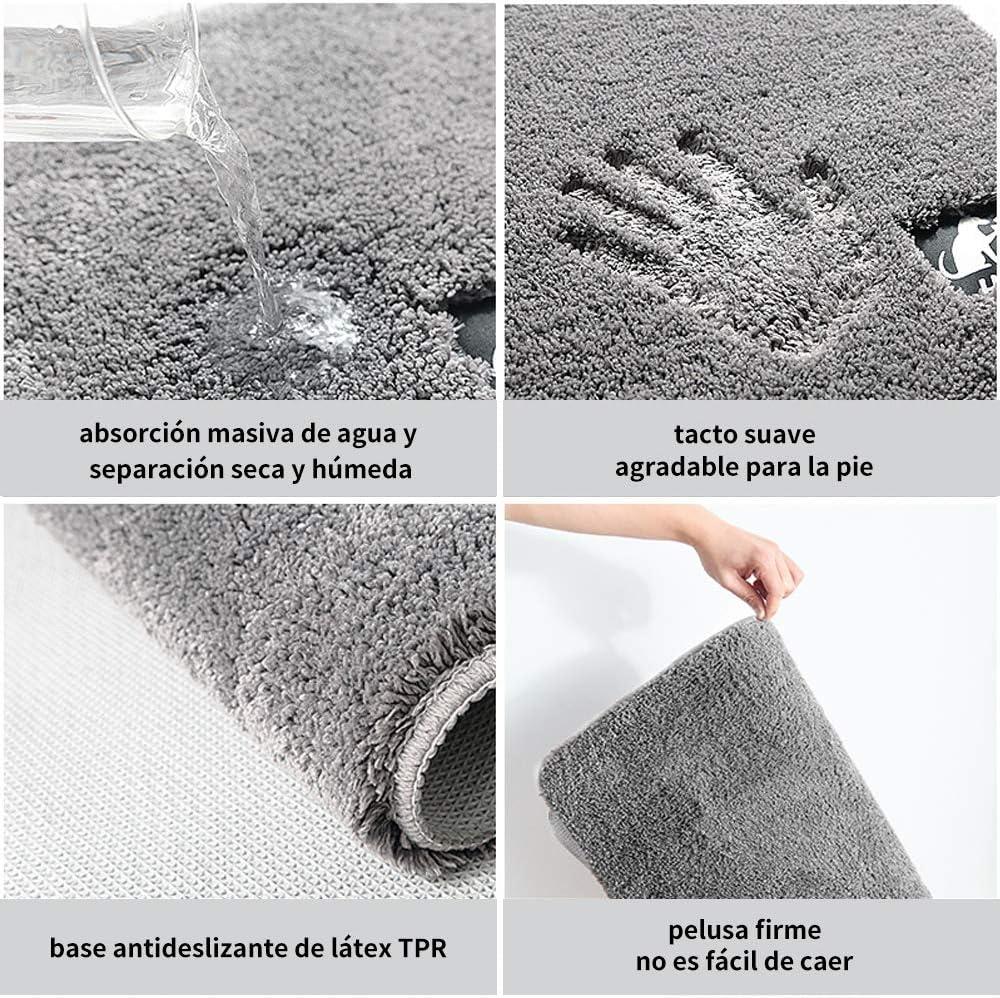 Gris Claro Delgeo Alfombra de ba/ño de Microfibra Suave Lavable a m/áquina,60 x 90cm Alfombra de ba/ño de Felpa Gruesa Ultra Absorbente