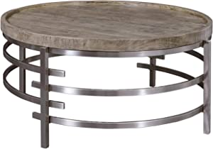 Signature Design by Ashley - Zinelli Contemporary Tray Top Round Cocktail Table, Brown/Silver