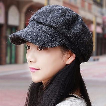 5e6eb0edfe1 LONFENNENR Women ladies The autumn winter hat female leisure all-match  Beret peaked cap retro
