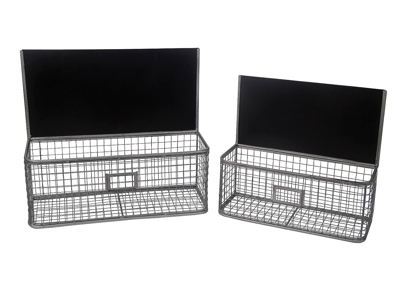 Contemporaryワイヤメッシュ壁storages with chalkboard-coated Backboard – 2のセット B00YGC6QE2