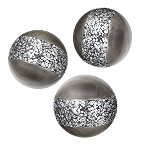 Creative Scents Schonwerk Silver Decorative Orbs for Bowls and Vases (Set of 3) Resin Sphere Balls | Dining/Coffee Table Centerpiece | Great Gift Idea (Crackled Mosaic)
