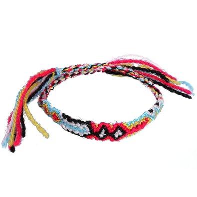 nouveau style d91c8 887fa KELITCH Fait Main Bracelet Réglable Woven Tisser Fil pour D'amitie Homme  Femme Multicolore Bracelet