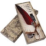 Yosoo フェザーペン クラシック羽ペン 筆立て インクのポット 6つペン先付き 万年筆 署名ペン 結婚式 ウェディング 羽飾り プレゼント(レッド)
