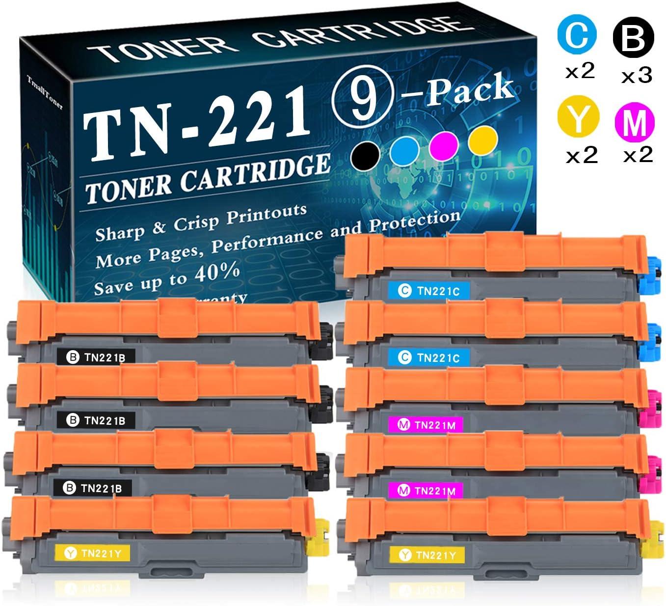 TN-221 Toner Cartridge Replacement for Brother Laserjet HL-3140CW HL-3150CDN MFC-9130CW MFC-9330CDW DCP-9015CDW DCP-9020CDN Printer Printer,by TmallToner 9-Pack 3Black,2Cyan,2Magenta,2Yellow