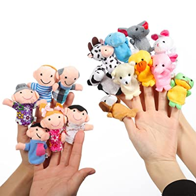 Alician 16pcs Cartoon Animal Plush Finger Puppets Set Cute Dolls for Children, Story Time, Shows, Playtime, Schools 16pcs: Home & Kitchen