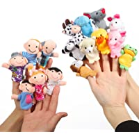 Finger Puppets Set 16 Pcs -10 Animals and 6 People Family Members Story Time Velvet Puppets Toys for Toddlers School Playtime Show Gift