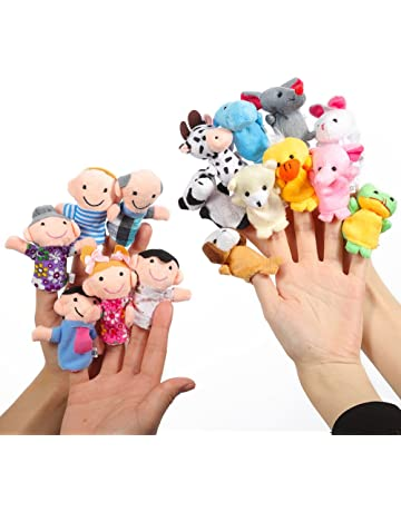 Twister.CK Finger Puppets Set Story Time 16 Piezas - 10 Animales y 6 Personas