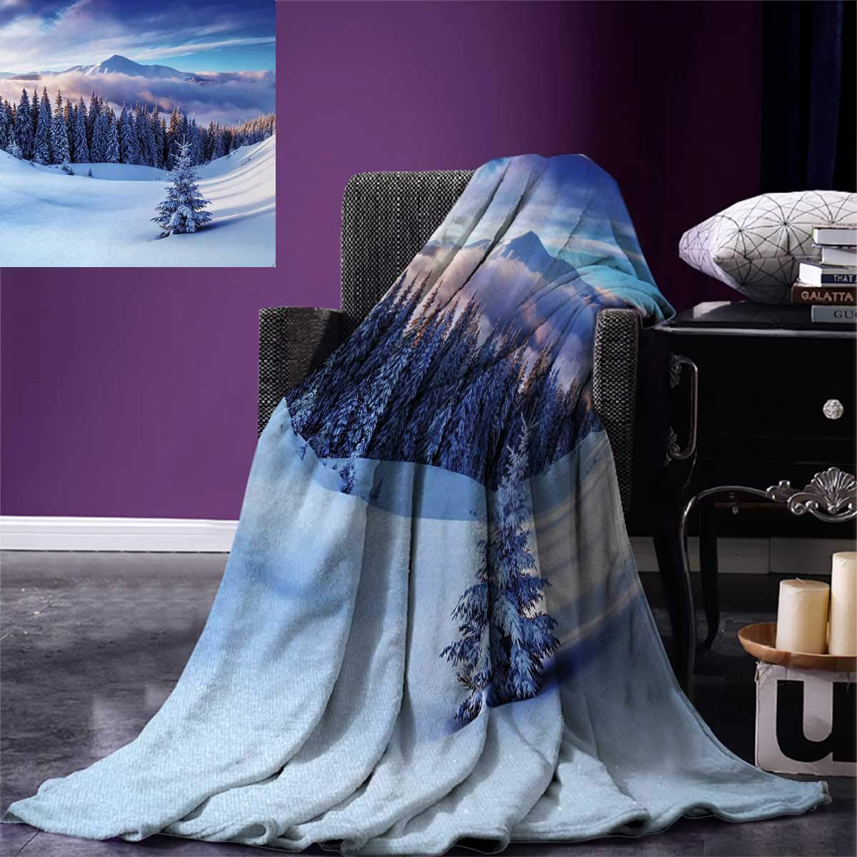 Winter Digital Printing Blanket Surreal Winter Scenery with High Mountain Peaks and Snowy Coniferous Pine Trees Summer Quilt Comforter 80''x60'' Blue White