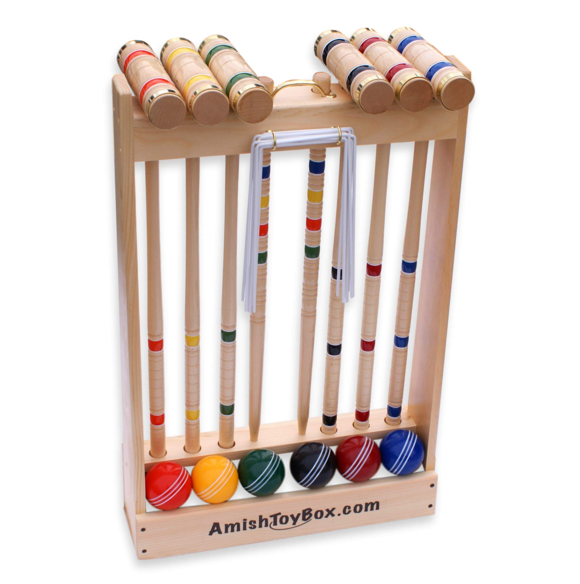 Amish-Crafted Deluxe Maple-Wood Croquet Game Set, 6 Player (Three 28'' Handles/Three 32'' Handles) by AmishToyBox.com (Image #3)