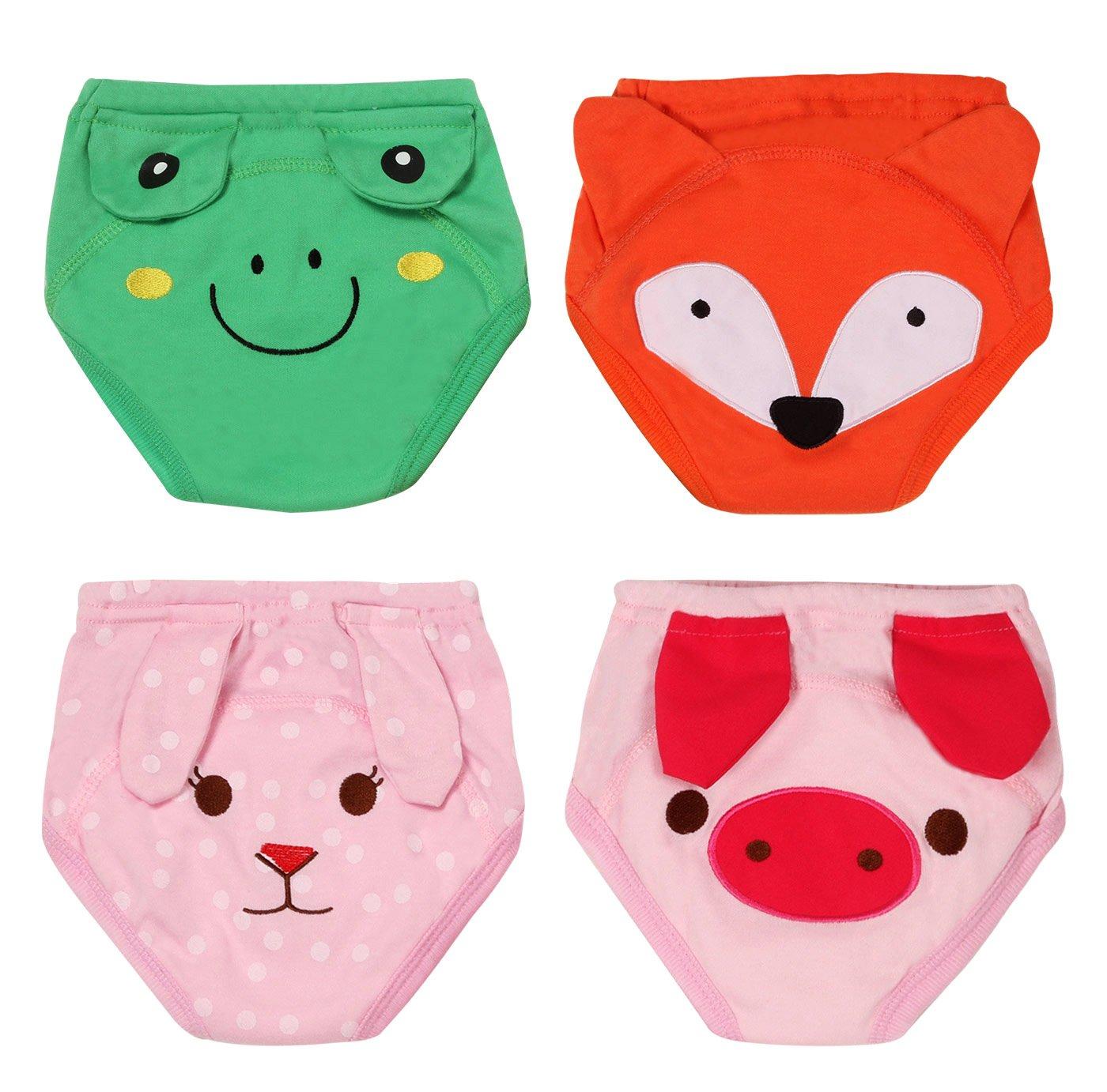 Toddler Training Underwear Pants 4 Layers Cotton Potty Training Waterproof TPU Pack of 4 Size 80 Rabbit Pig Frog Fox