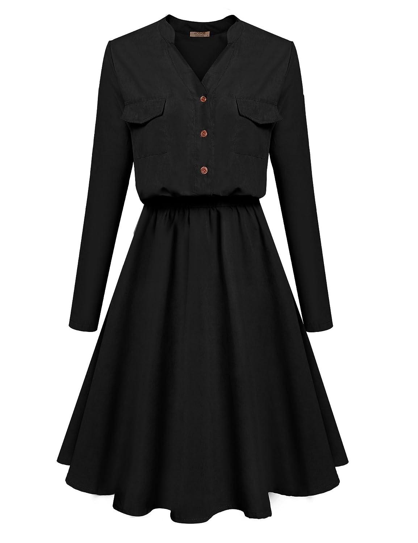 Acevog Women's V-neck Shirt Long Sleeve A-line Casual Dress With pockets