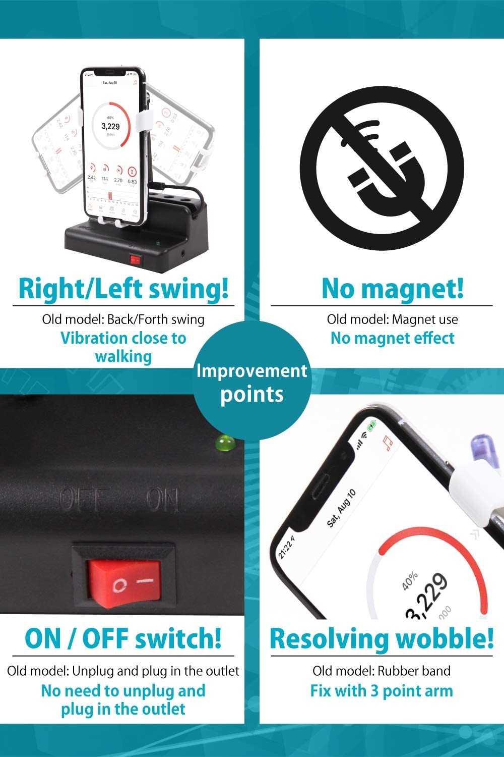 JGP Earn Steps Automatically Mobile Phone Shaker Left//Right Swing with ON//Off Switch and Adjuster No Magnet Manual Included No Rubber Band Required Automatic Egg Hatcher JGP-002