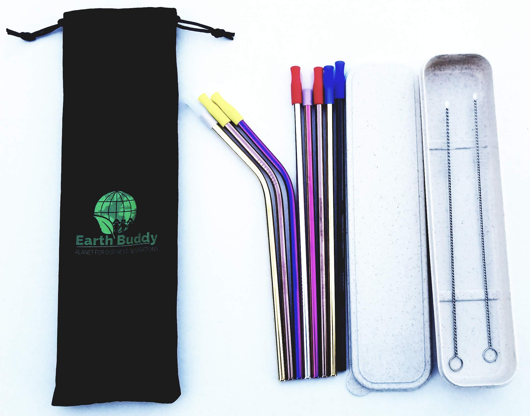 Eco-Friendly 8 Reusable Multi-color Stainless Steel Drinking Straws, 8 Silicone Tips, Beautiful Carrying Case, 2 Cleaning Brushes and Velvet Storage Pouch (Multi-Color, 8)
