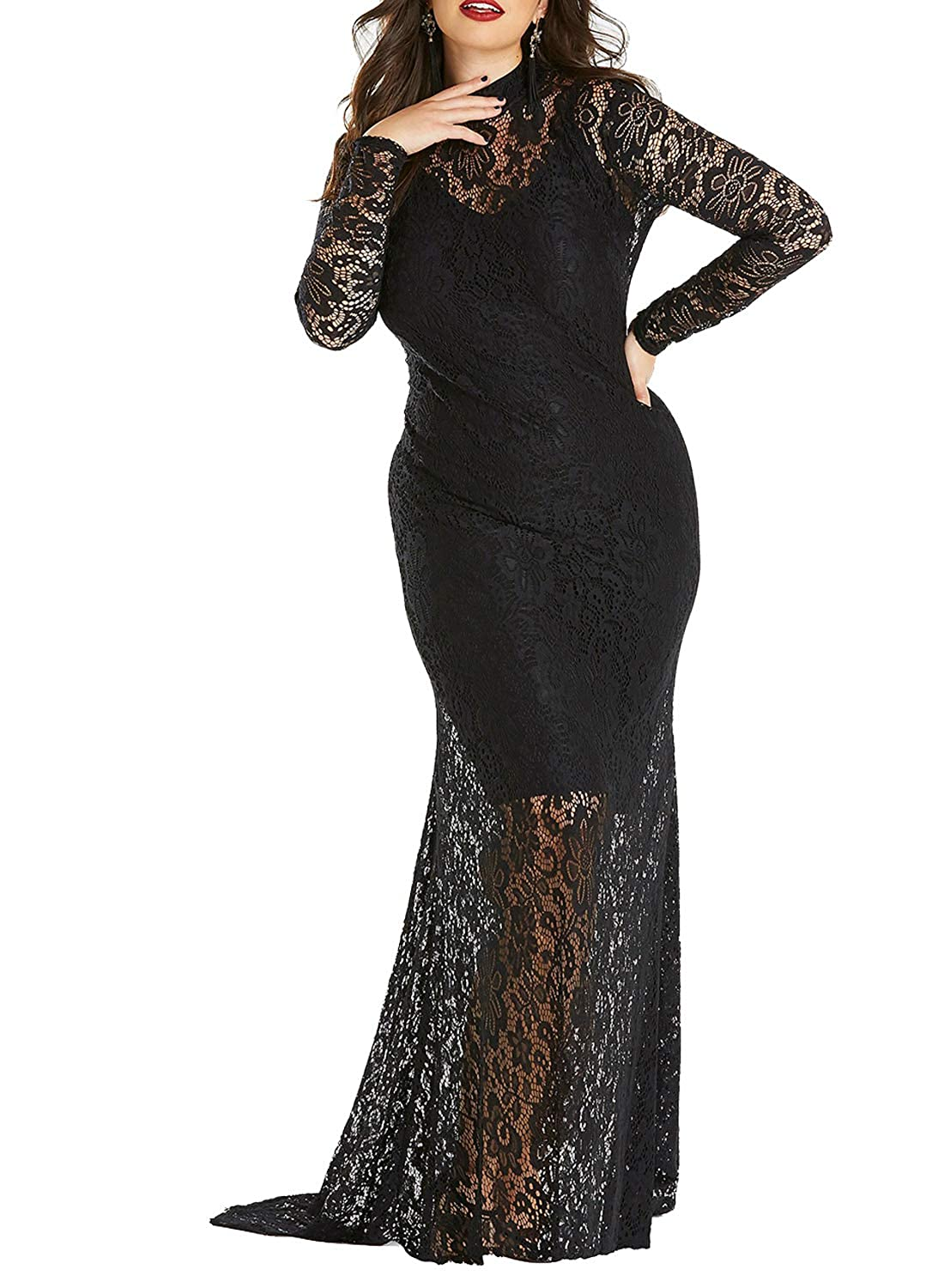 4fdb7ec45b96c Dokotoo Womens Plus Size High Neck Lace Fishtail Maxi Dress at Amazon Women's  Clothing store: