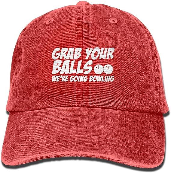 Grab Your Balls Were Going Bowling Plain Adjustable Cowboy Cap Denim Hat for Women and Men