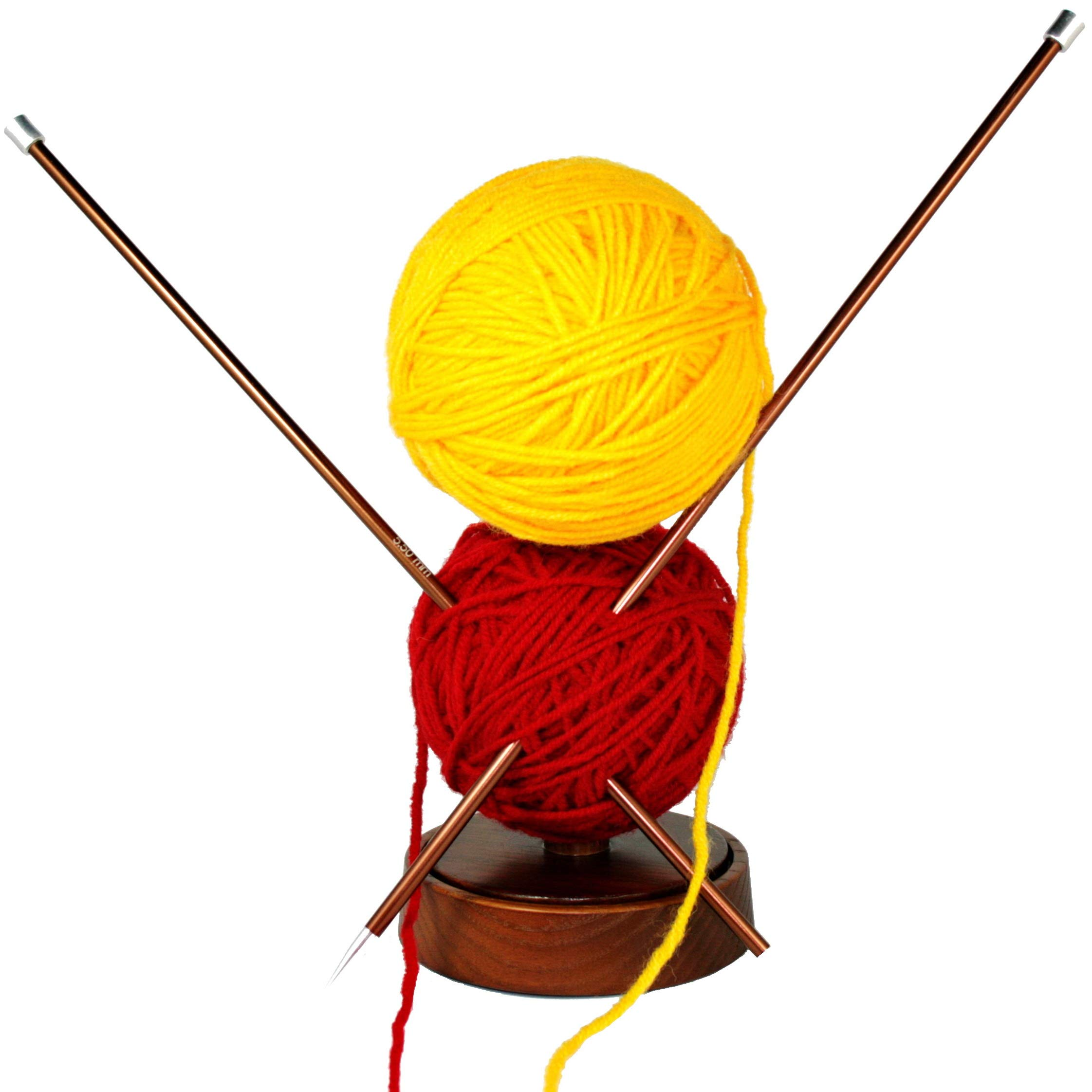 Large Wooden Spinning Yarn Ball Holder. Wool Skein Thread Dispenser. Bobbin Cone Spool Storage Spindle Stand. Wood Knitting Accessories Tools. Adult Beginner Crochet Project Kit by BarvA (Image #4)