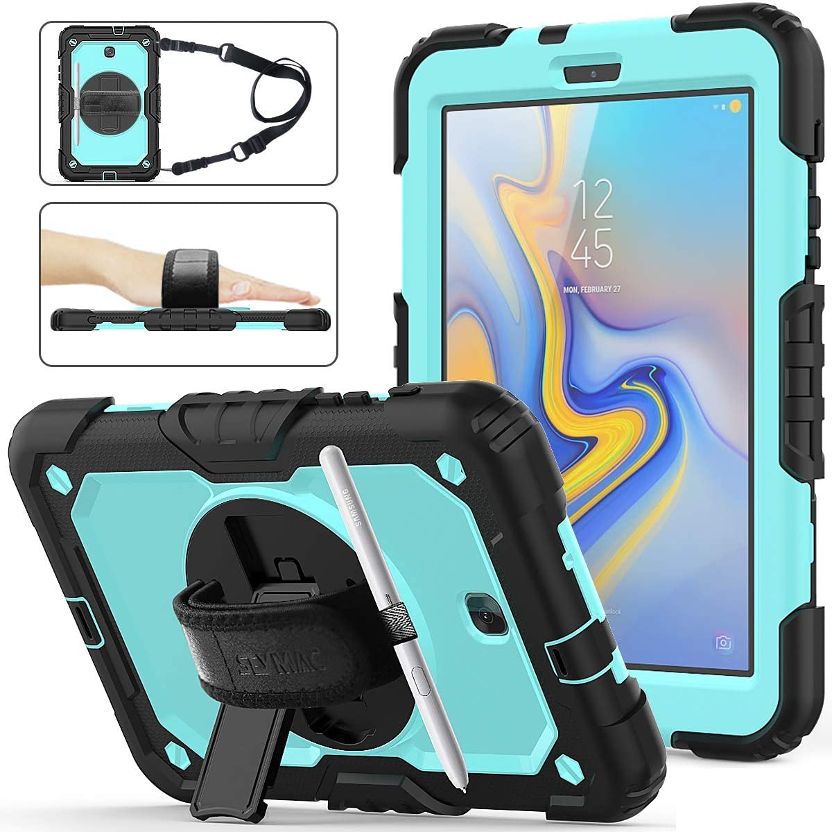 Galaxy Tab A 8.0 Case [ONLY FIT SM-T387 ], [Full-body] Drop Proof Case with 360 Rotating [Hand Strap] Stand [Screen protector] Pencil Holder for Samsung Tab A 8.0 Model SM-T387 (2018) - Skyblue+Black