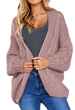 Shawhuwa Womens Cozy Warm Knit Cardigan Coats Open Front Solid Cable Long Wide Sleeve Loose Fit Sweater Outerwear Pink S
