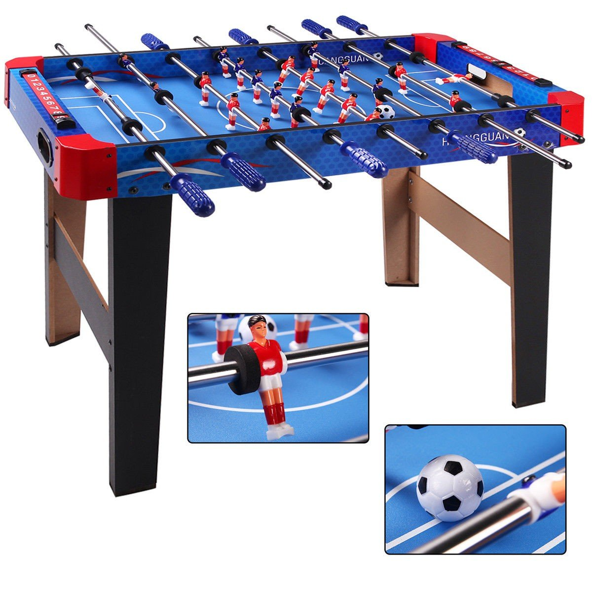36'' Inch Indoor Arcade Game Foosball/Football Table for Recreation Living Room College Dormitory, Sturdy and Strong Built (Blue-Red, 36)