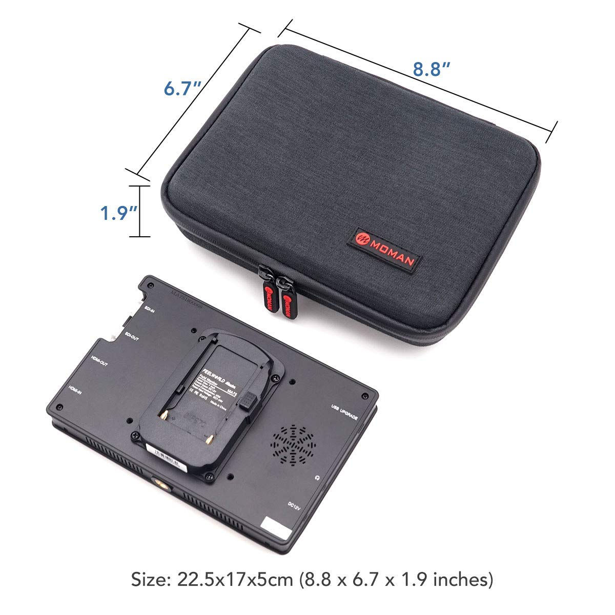 Moman Carrying Bag for 7 inch Camera Field Monitor Carrying Case for Feelworld FW703 T7 FW759 FW760 F7 FW759P FW74K A737 FH7 NW759 NW760 NW74k Lilliput A7S and other 7 Inch DSLR Monitors