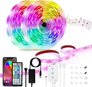 50ft Led Strip Lights, YVV Music Sync Color Changing Led Lights for Bedroom, with 44keys Remote and App Controller for Home Party Decoration (2 Rolls of 25ft)
