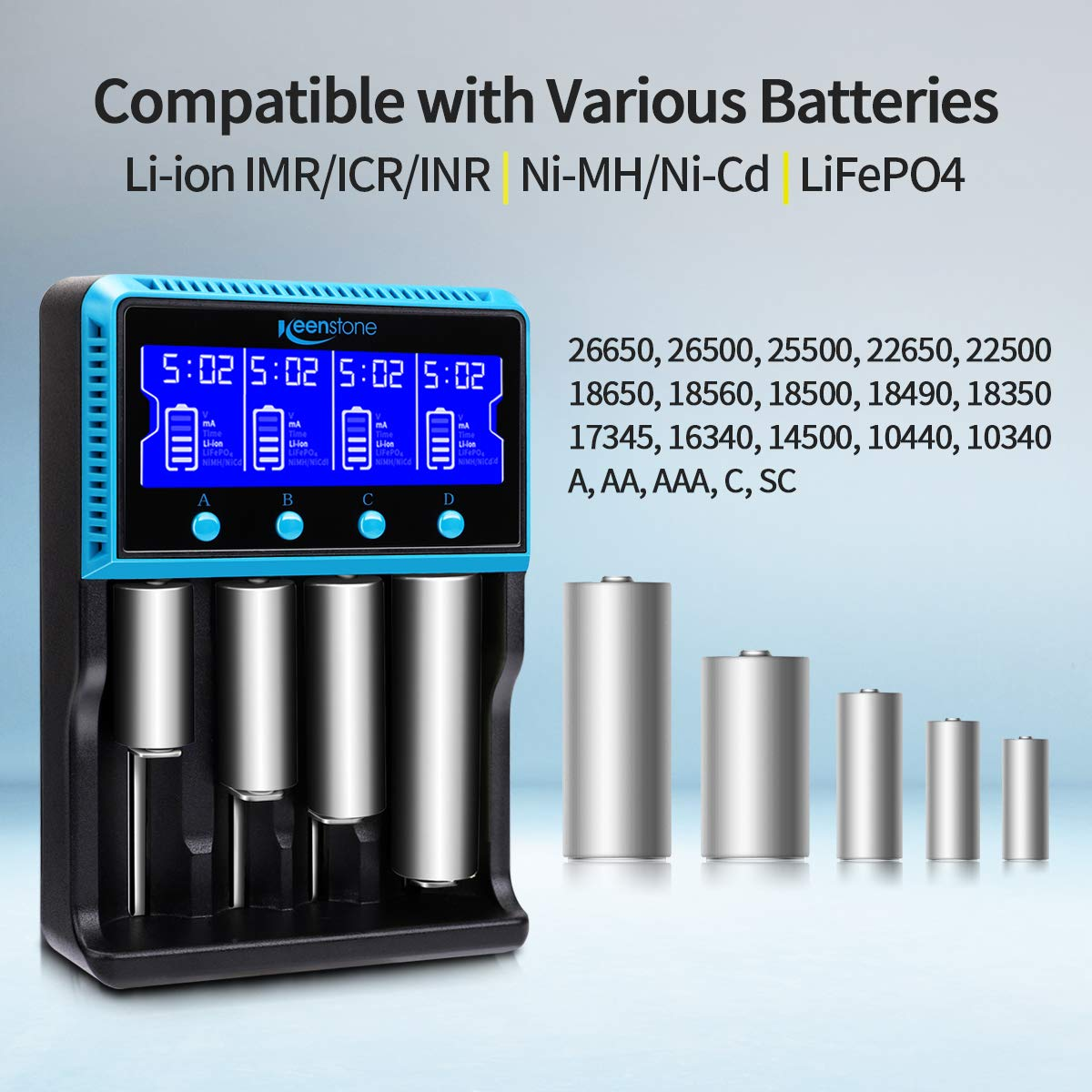 Keenstone Universal Battery Charger 4 Bay, 18650 Fast Charger UK with LCD Display & Car Charger for Li-ion Lifepo4 Ni-MH Ni-Cd AA AAA 14500 16340 18560 25500 26650 Flat Top Rechargeable Batteries