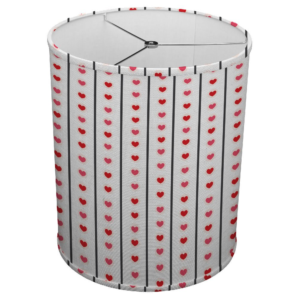 Hardback Linen Drum Cylinder Lamp Shade 8'' x 8'' x 8'' Spider Construction [ Red Heart Love Stripe ]