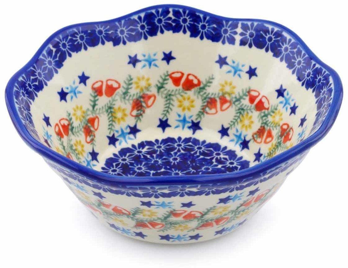 Wreath Of Bealls Polish Pottery Ceramika Boleslawiec, 0423 238, Bowl Viki 1, 3 1 4 Cups, Royal bluee Patterns with Red Cornflower and bluee Butterflies Motif