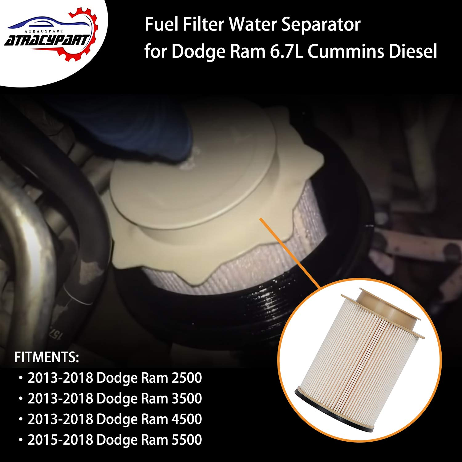 amazon com: 6 7l cummins fuel filter water separator set | for 2013-2018 dodge  ram 2500 3500 4500 5500 6 7l cummins turbo diesel engines | replaces#