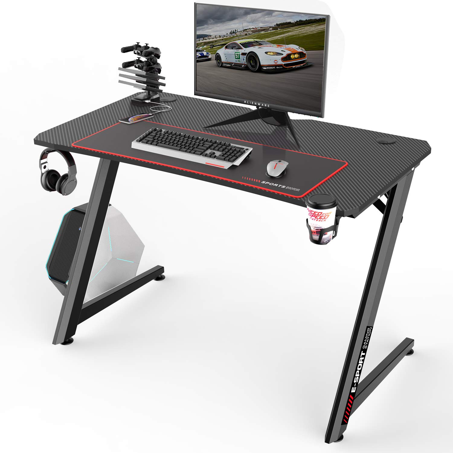 Vitesse 47 inch Gaming Desk Racing Style Computer Desk with Free Mouse pad, Z-Shaped Professional Gamer Game Station with USB Gaming Handle Rack, Cup Holder Headphone Hook Black