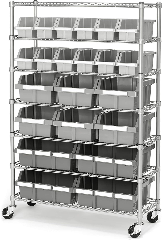 Seville Classics Commerical Grade Bin Rack Storage Steel Wire Shelving System - 22 Bins