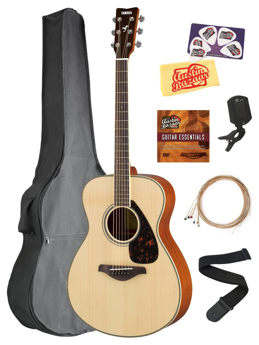 Yamaha FS820 Solid Top Small Body Acoustic Guitar - Natural Bundle with Gig Bag, Tuner, Strings, Strap, Picks, Austin Bazaar Instructional DVD, and Polishing Cloth