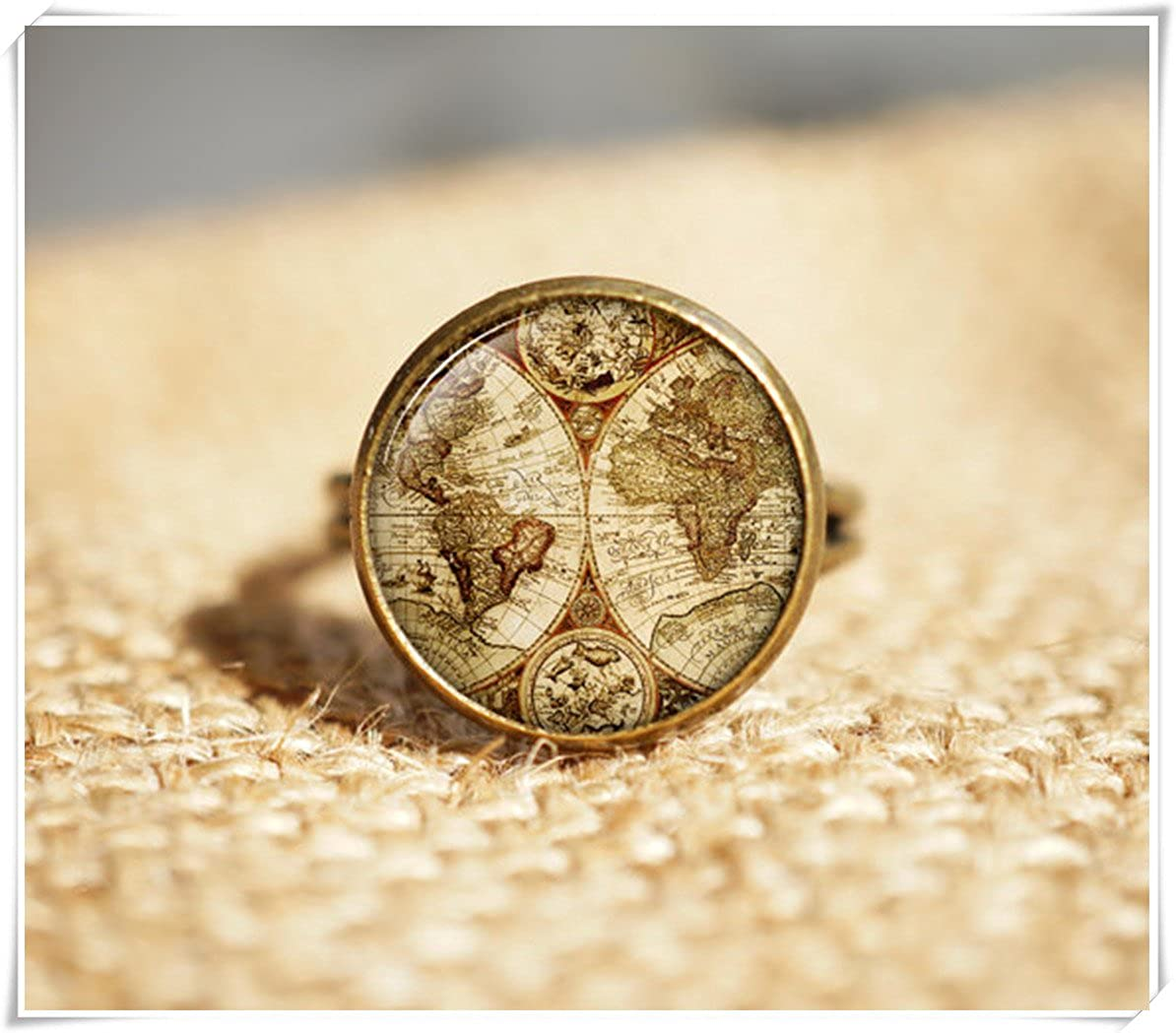 Antique World Map Rings, world map rings, Travel Rings Dandelion chen JX11