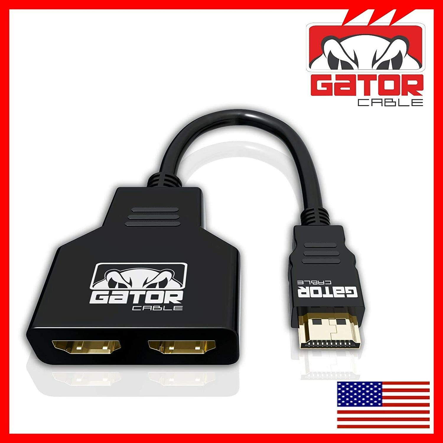 4K HDMI 2.0 Cable Splitter Adapter Converter 1 in 2 Out HDMI Male to 2 HDMI UHD