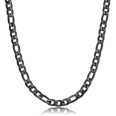com stainless necklace inch black chain mens women for cross amazon men steel jstyle dp