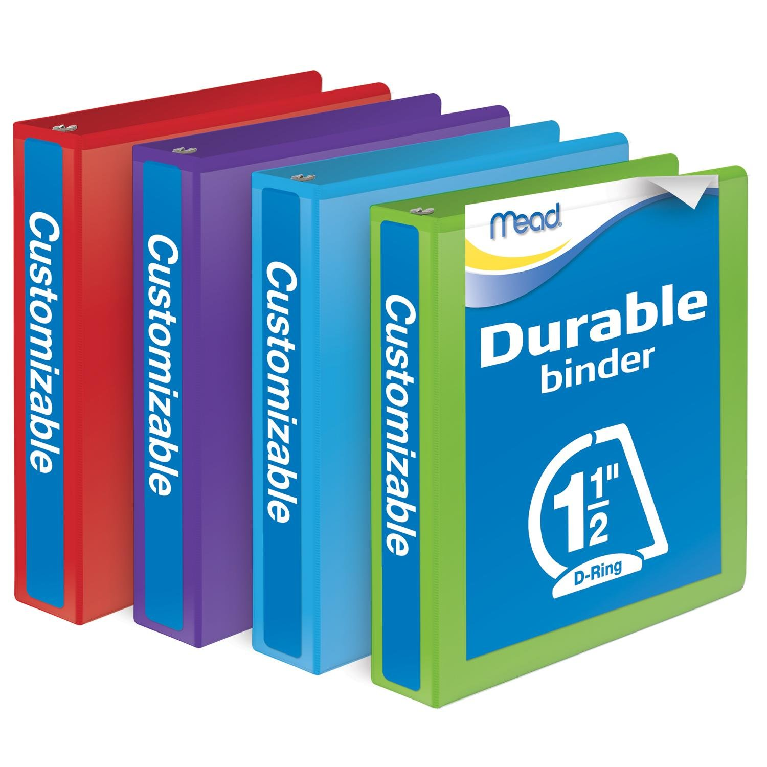 Mead 1-1/2 Inch Binders, D Ring Binders, Durable, Customizable, Assorted Colors, 4 Pack (W465-34APP) by Mead