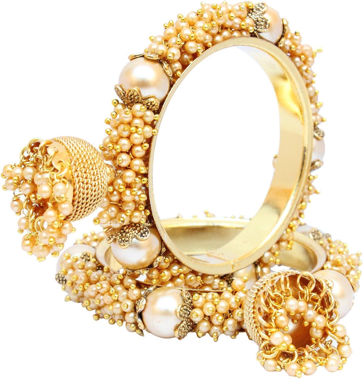 Ratna Creation Indian Traditional Golden Jhumki Bollywood Bangle//Bracelet Set Women Wedding Bridal Jewelry