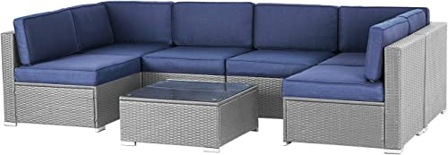 Oakmont 7 Piece Patio Furniture Sets Outdoor Furniture Set Warm Gray Manual Weaving Wicker Rattan Outdoor Sectional Sofa