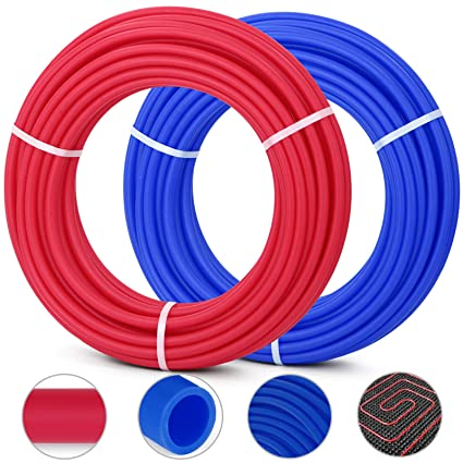 Happybuy Oxygen O2 Barrier PEX Tubing - 2 Rolls of 1/2 Inch X 100 Feet Tube  Coil - EVOH PEX-B Pipe for Residential Commercial Radiant Floor Heating