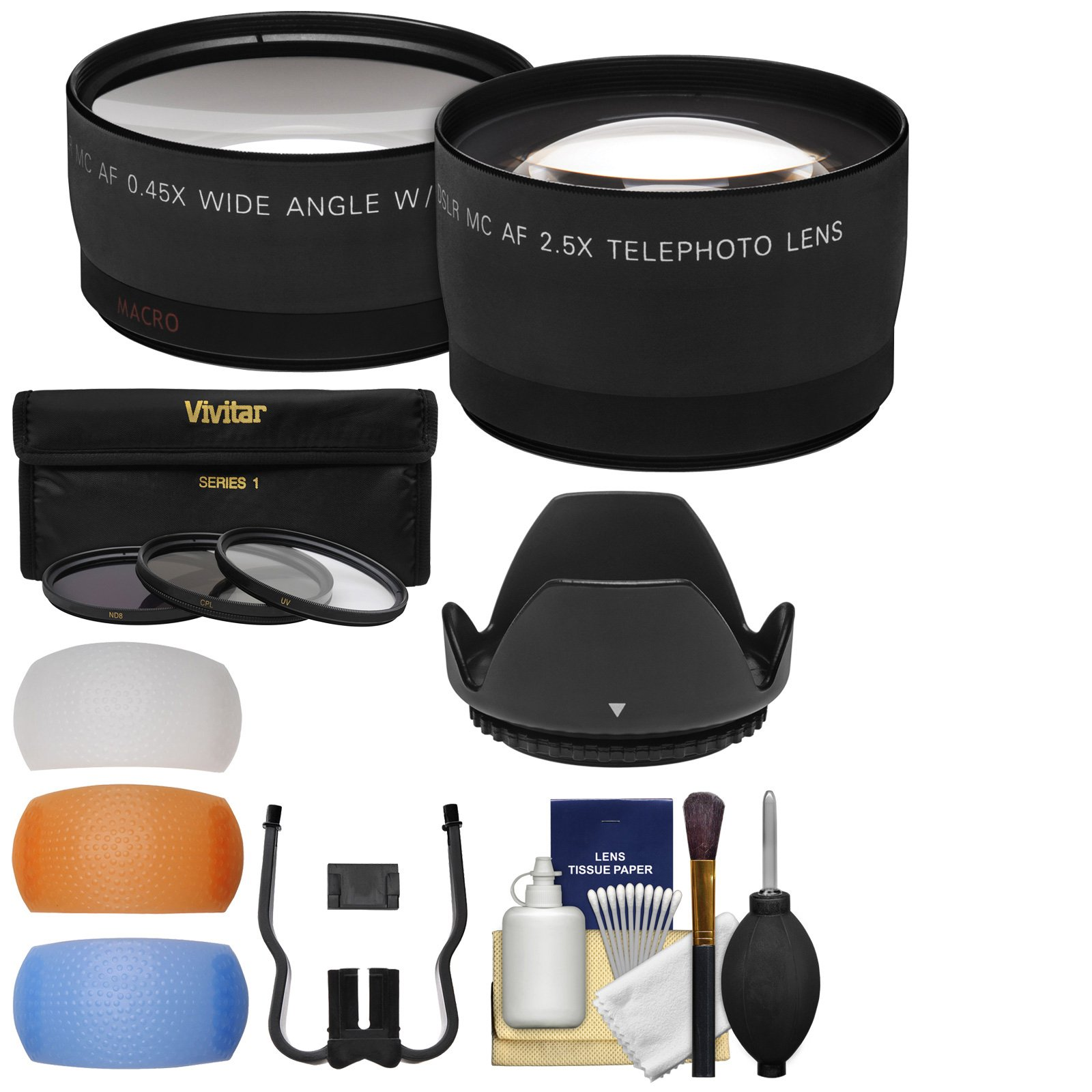 Essentials Bundle for Canon Rebel SL2, SL3, T6, T6i, T6s, T7, T7i Camera & 18-55mm Lens + Tele & Wide Lenses + 3 Filters + Diffusers + Hood + Kit