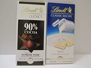 Image Unavailable Not Available For Color Bundle Lindt Classic Recipe White Chocolate And Excellence 90 Cocoa Supreme Dark