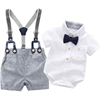 Newborn Baby Boys Gentleman Outfits Suits, Infant Short Sleeve Shirt+Bib Pants+Bow Tie Overalls Clothes Set