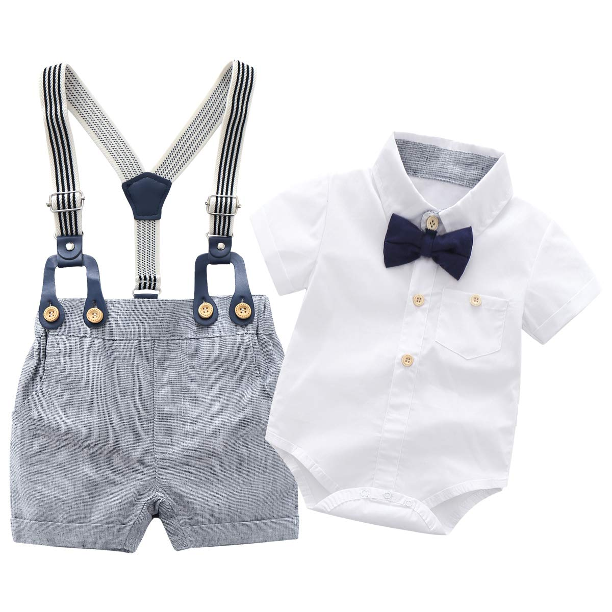 BBKidss Baby Boys Gentleman Romper Outfit Summer Short Sleeve Cotton Onesie Bodysuit with Bow Tie