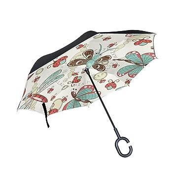 Mumimi LEISISI - Paraguas invertido con diseño de libélula de dibujos animados, doble capa,