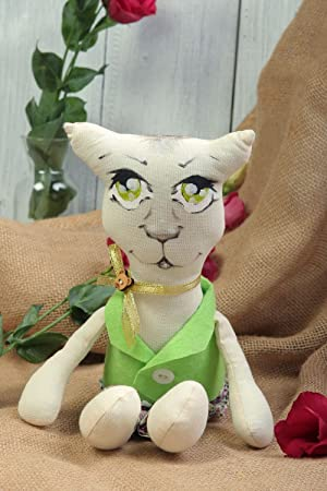 Peluche artesanal de tela regalo original para nino juguete decorativo Gato