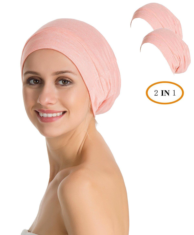 Slap Night Cap Sleep Hat - 2 Packs Pink Women Organic Bamboo Cotton Satin Silk Satun Satin lined Bonnet Slouchy Summer Scarf Hair Cover Beanie For Women Men Lady Lightweight Light Thin Jersey Chemo