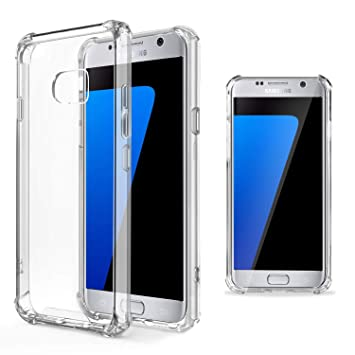 Moozy Funda Silicona Antigolpes para Samsung S7 - Transparente Crystal Clear TPU Case Cover TPU Flexible