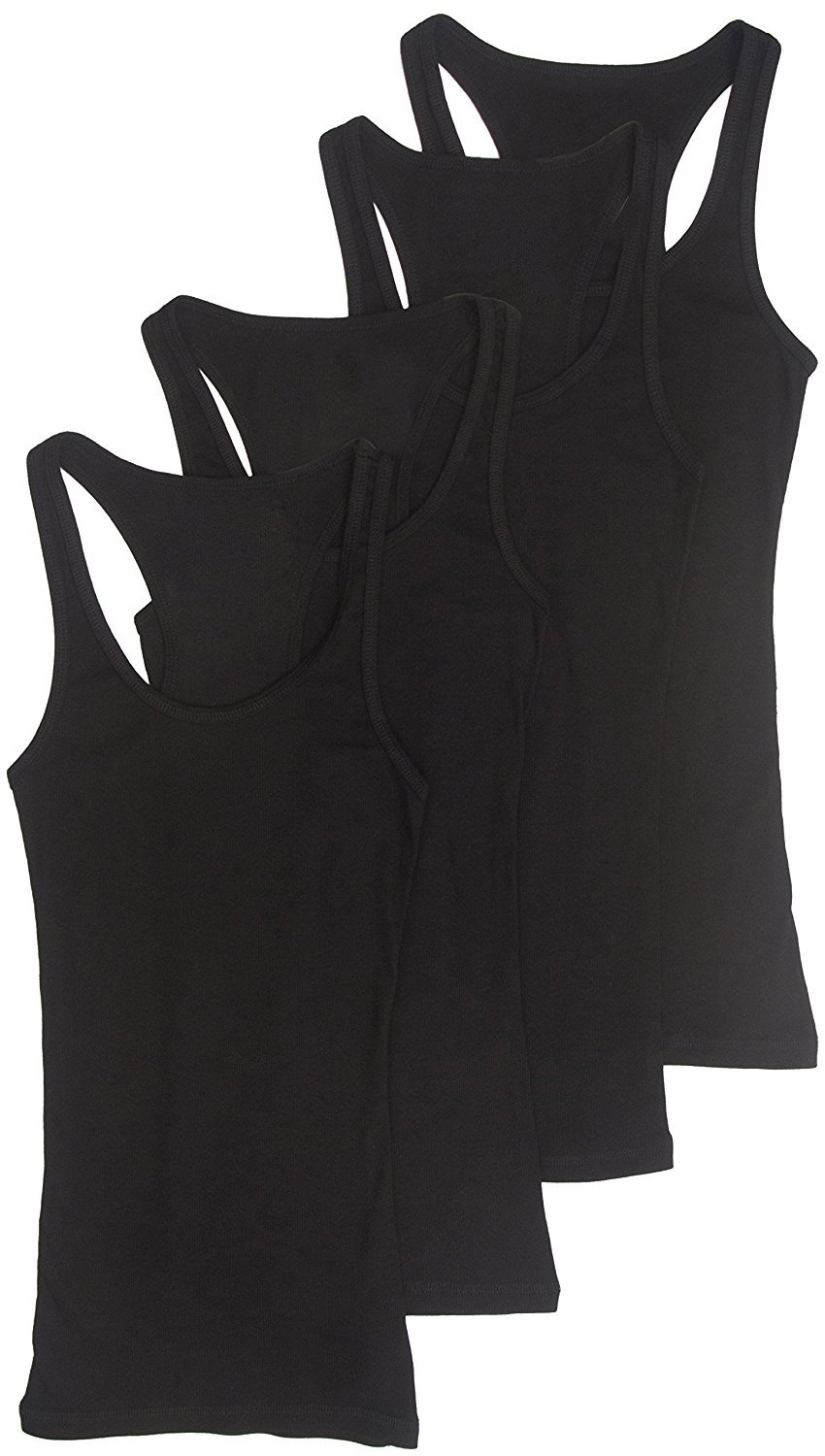 4 Pack Zenana Women's Racerback Tank Top Large Black, Black, Black, Black