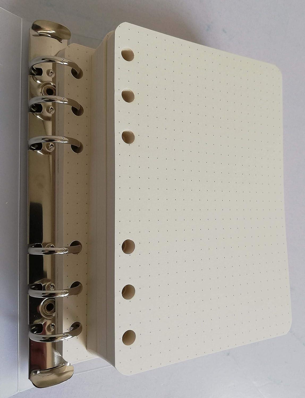 Ricambio per oganizer A6 formato personal 10x17cm 200 fogli a puntini bullet con 6 anelli