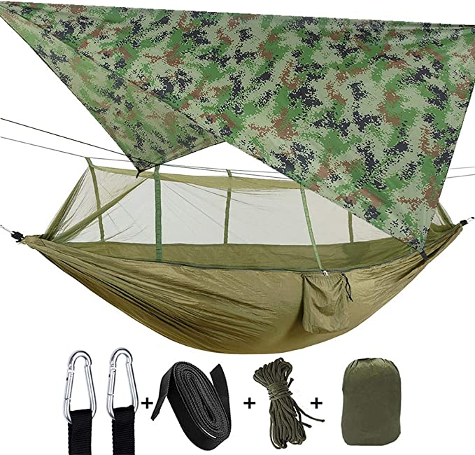 PIRNY Double Camping Hammock,Capacity up to 400 lbs,Mesh Bed Breathable,Portable Net Hammock Apply Backpack Equipped,Use for Hiking,Camping,Indoor,Outdoor Green